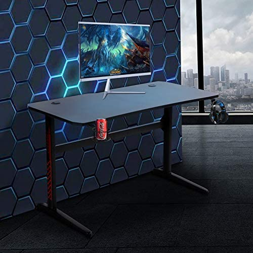 Gaming Style Desk Computer Home Office Desk Student Table PC Desk with Cup Holder & Headphone Hook Powerful Cabling Management PC Desk (47.2 inch)