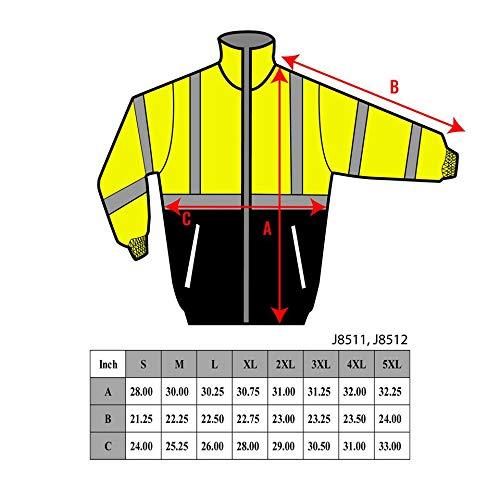 Troy Safety New York Hi-Viz Workwear Men's Ansi Class 3 High Visibility Safety Bomber Jacket with Zipper, PVC Pocket, Black Bottom, Qty 1 (Medium, Lime Green) by New York Hi-Viz Workwear (Image #8)