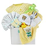 Newborn Baby Unisex Gift Basket with A Hat, Receiving Blanket, Socks, Onesie and More