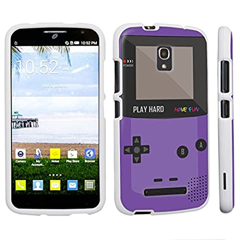 DuroCase ® Alcatel One Touch POP Mega LTE A995G Hard Case White - (Gameboy Purple) (Alcatel A995g Wallet Case)