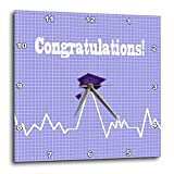 3dRose Beverly Turner Graduation Design - Heart Beat with Grad Cap on Graph Paper, Medical Theme, Purple - 10x10 Wall Clock (dpp_262859_1)