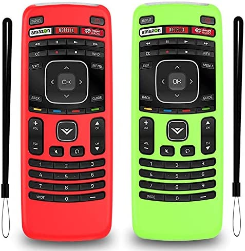 Remote Case Replacement for XRT112 Vizio Smart TV, 2-Pack Silicone Shockproof Back Cover with Lanyard (Glow Green and Red)