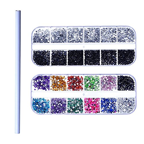 3D Nail Art Decorations Rhinestone Sets, 3D Colored Rhinestones, Sliver And Black Rhinestones, One Picker Pencil