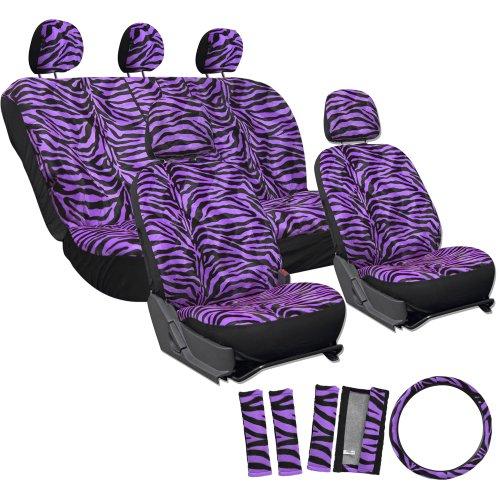 OxGord 17pc Zebra Animal Print Seat Cover Set for Saturn Ion, Airbag Compatible, Split Bench, Purple & Black