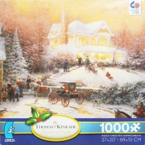 THOMAS KINKADE Painter of Light Victorian Christmas II 1000 Piece Jigsaw Puzzle MADE IN USA PUZZLE