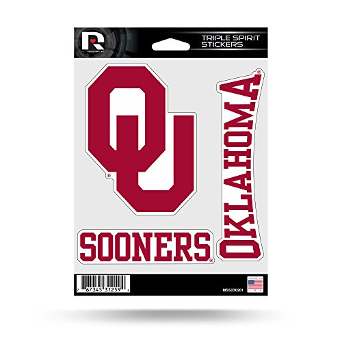 Rico Industries NCAA Oklahoma Sooners Die Cut 3-Piece Triple Spirit Sticker Sheet ()