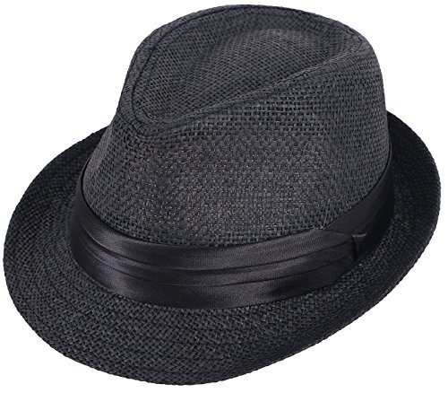 Kids Fedora Black Straw Sun Beach Hat-Short Brim with Black Band Accent Black]()