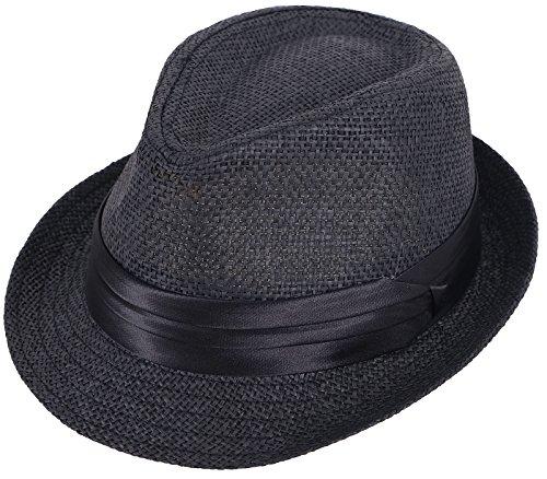 Kids Fedora Black Straw Sun Beach Hat-Short Brim with Black Band Accent Black