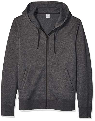Amazon Essentials Men's Water-Repellent Thermal-Lined Full-Zip Fleece Hoodie, Charcoal Heather, XX-Large (Lined Zip Sweatshirt)