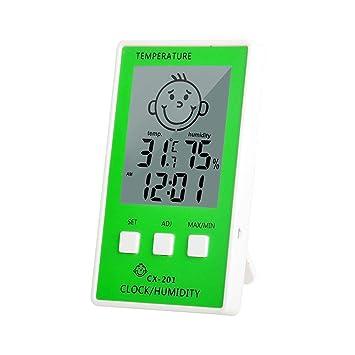 Sroomcla Habitación Interior Termómetro Exterior Higrómetro LCD Reloj Digital Registrador de Temperatura Sonrisa del bebé Medidor de Humedad de la Cara ...