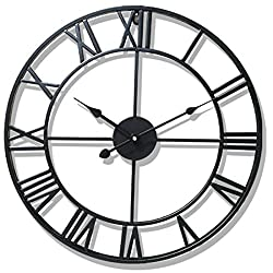 Vintage Wall Clock, XSHION 20 Inch Wall Clocks Large Iron Decorative Wall Clock Antique Metal for Living Room/Kitchen/ Hotel (Black)