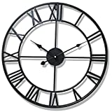 Cheap PeleusTech® Wall Clock, 20-inch Dia Large Iron Metal Vintage Retro Indoor Wall Clock with Roman Numerals – (Black)