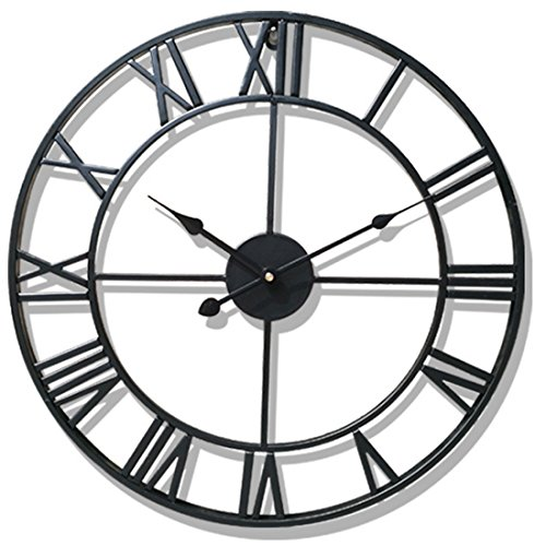 PeleusTech® Wall Clock, 20-inch Dia Large Iron Metal Vintage Retro Indoor Wall Clock with Roman Numerals - (Black)