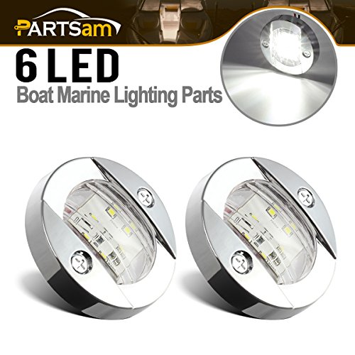 Partsam 3inch Round Navigation Light Chrome Boat Marine LED Transom Mount Stern Lights Flush Mount(Pack of (Led Round Transom Light)