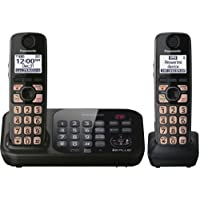 Panasonic KX-TG4742B DECT 6.0 Cordless Phone with Answering System, Black, 2 Handsets (Discontinued By Manufacturer)