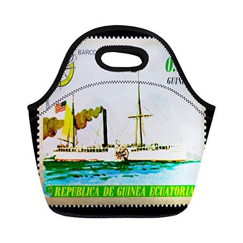 Semtomn Lunch Bags Moscow Russia January Stamp Printed in Equatorial Guinea Shows Neoprene Lunch Bag Lunchbox Tote Bag Portable Picnic Bag Cooler Bag