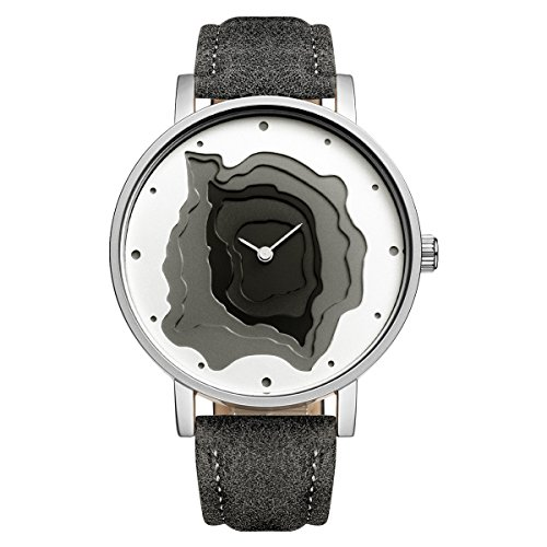 STARKING Women Japanese Quartz Dark Gray Leather Band TM0907 3D Terraces Minimalist Casual Dress Watch Waterproof