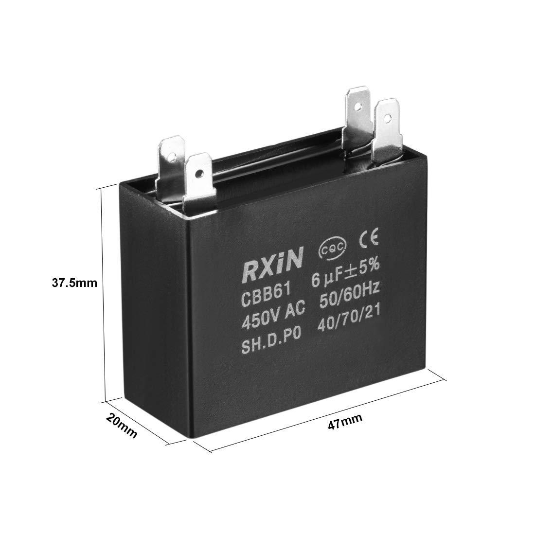 2pcs CBB61 condensateur /à Film 450V AC 8uF cosses PP m/étallis/é pour Ventilateur