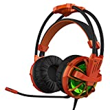 HAVIT HV-ZH1300 Professional PC Headset with Build-in 50mm Microphone ,Passive Noise Canceling Soft Earmuffs Gaming Headphone (Orange+Black)