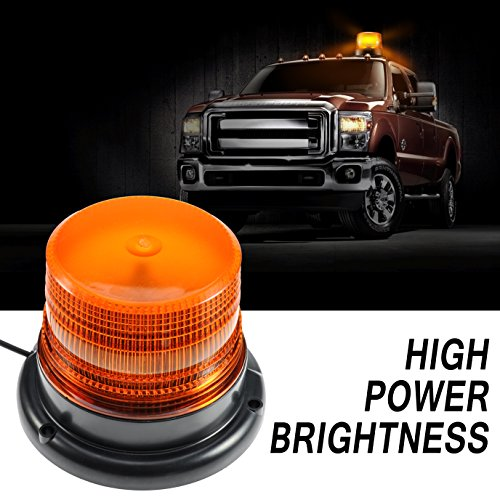 Amber led Light, Dinfu Emergency Flashing Warning Beacon with Strong Magnetic Base for Truck Ship Yacht Vehicle School Bus (Truck Strobe Lights)