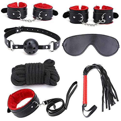 Catata 7 PCS Bed Restraints Kit with Adjustable Fur Leather Wrist ankle cuffs For Cosplay(Black)