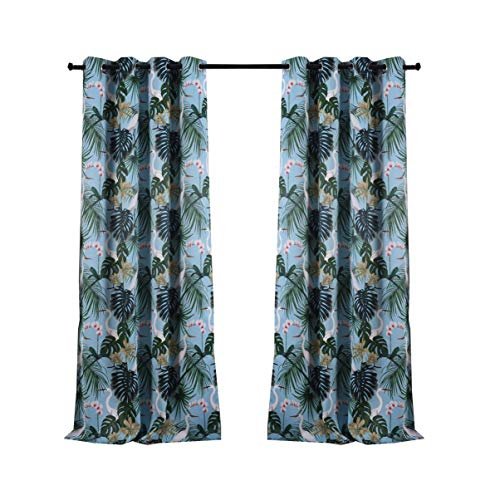 sgofais Printed Blackout Curtains for Bedroom with Birds Floral Patterns - Grommet Thermal Insulated Room Darkening Vintage Curtains for Living Room, Set of 2 Panels (52 x 63 Inch, Green) (Flowered Green Curtains)