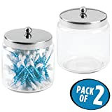 mDesign Bathroom Vanity Glass Storage Organizer Canister Jars for Q tips, Cotton Swabs, Cotton Rounds, Cotton Balls, Makeup Sponges, Bath Salts - Pack of 2, Medium, Clear/Polished Stainless Steel