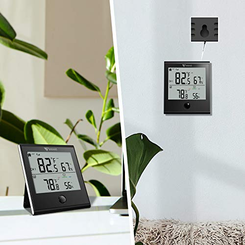 DOQAUS Indoor Outdoor Thermometer Wireless,Digital Thermometer Outdoor Temperature, Temperature and Humidity Gauge with 300ft/90m Range Humidity Meter