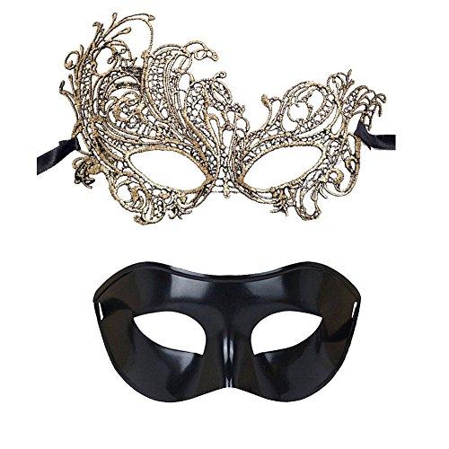 Trimengo Masquerade Mask for Couples Mardi Gras Mask Venetian Costume Halloween Party -