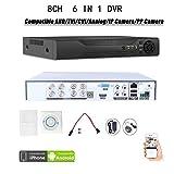 Quanmin 8CH H.264 Network Hybrid 6 in 1 DVR Analog DVR+AHD DVR+1080P ONVIF IP Camera NVR+TVI DVR+CVI DVR+PixelPlus Camera DVR Realtime Remote View Surveillance Security System Digital Video Recorder