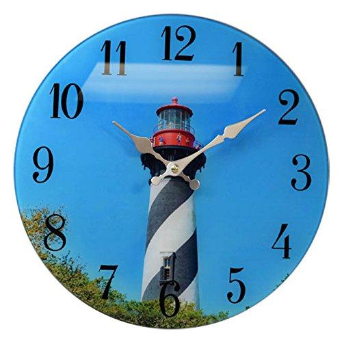 "St.Augustine Lighthouse Glass Wall Clock 13""X 13""Home Wall Decor Beach Coast New"