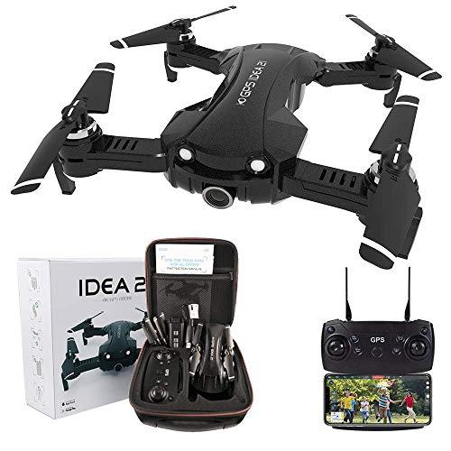 le-idea Drone con Camara HD, 4K Drones con Camara Profesional Estabilizador GPS, 5G WiFi FPV Drone Tiempo Real, Largo Tiempo de Vuelo Drone 16 Minutos Drone Plegable RC【Actualizar IDEA21】