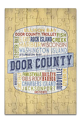 (Door County, Wisconsin - Door County Trolley - Rustic Typography - Contour 98341 (8x12 Premium Acrylic Puzzle, 63 Pieces))