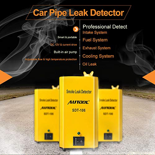 AUTOOL SDT-106 Vehicle EVAP System Leak Testing Machine Leak Detector, 12V Automotive Fuel Pipe System Leak Tester with EVAP Adapters for All Cars Motorcycles - 3 Years Warranty by AUTOOL (Image #1)