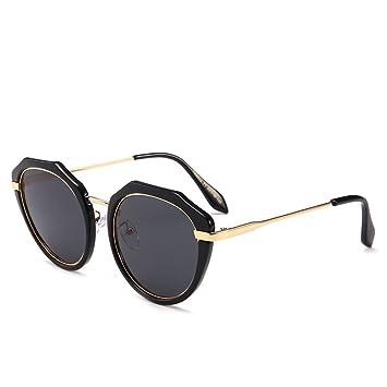 ZZ Trend Personalidad Personalidad Redonda Gafas de Sol polarizadas,Caja Negra Gris