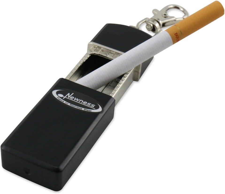 Ash Holder Pocket Smoking Ash Tray with Lid Lunji Portable Mini Pocket Ashtray Capsule Keyring for Outdoor Use Black