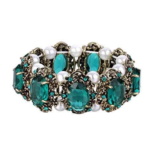BriLove Women's Victorian Style Stretch Bracelet with Crystal Simulated Pearl Multi Floral Cameo Inspired Oval Emerald Color Antique-Gold-Tone