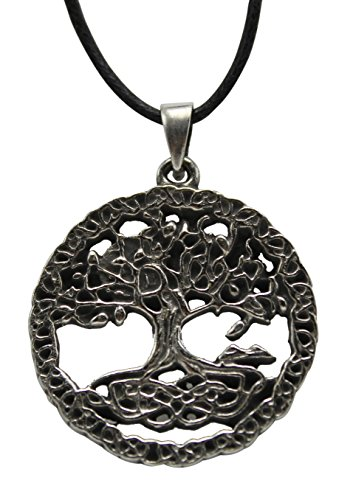 - Pewter Celtic Pendant With 33 Cord Necklace on History Card (Tree of Life 2)