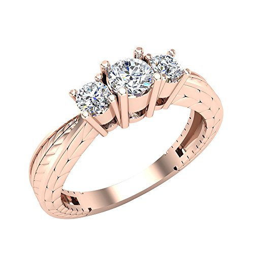Hand Engraved Engagement Setting (3/8 ctw Past Present Future Engraved Three Stone Anniversary Ring Diamond Engagement Ring 14K Rose Gold (Ring Size 7))