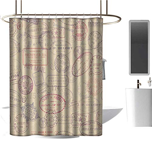 """Qenuan Rustic Shower Curtain Vintage,Retro Design Inspired Postage Illustration with Beige Background Antique Stamps, Multicolor,Eco-Friendly,Bathroom Curtain 47""""x64"""""""