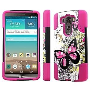 [NakedShield] LG G3 [Pink Butterfly] Armor Tough Shock Proof KickStand Black/Hot Pink Phone Case