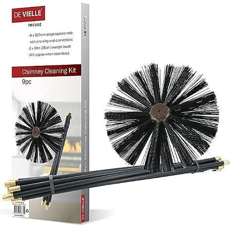 De Vielle - Conjunto de Limpieza para Chimenea, metálico, Color Negro, 9 Piezas: Amazon.es: Hogar