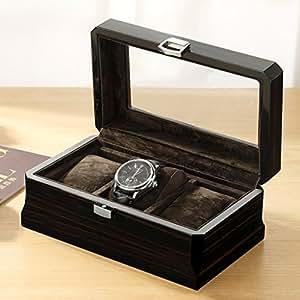 Caja de reloj de madera de 3 ranuras Caja de reloj de la ...