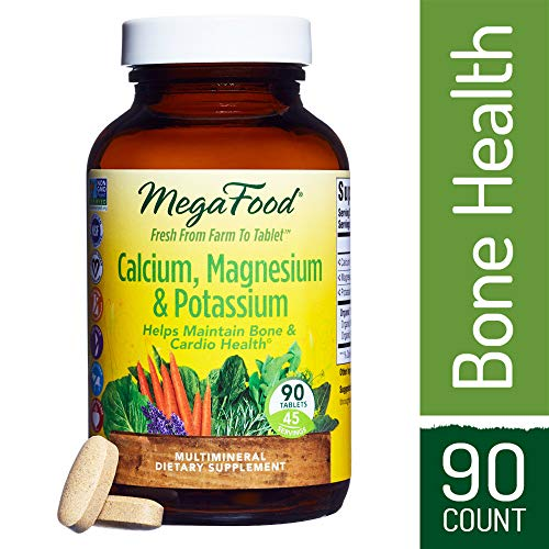 (MegaFood - Calcium, Magnesium & Potassium, Promotes Healthy Bones, Muscles, Blood Pressure Levels, and Cardiovascular Health, Vegetarian, Gluten-Free, Non-GMO, 90 Tablets)