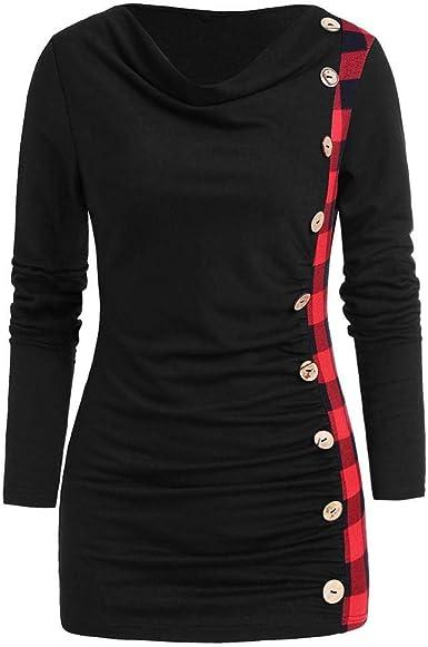 SHOBDW Mujeres Casual Primavera Verano Cuello Redondo Camisetas de Manga Larga Suave Celosía Suelta Más Tamaño Empalme Botón de Moda Camiseta Larga Suelta Tops Elegantes de época Blusa: Amazon.es: Ropa y accesorios