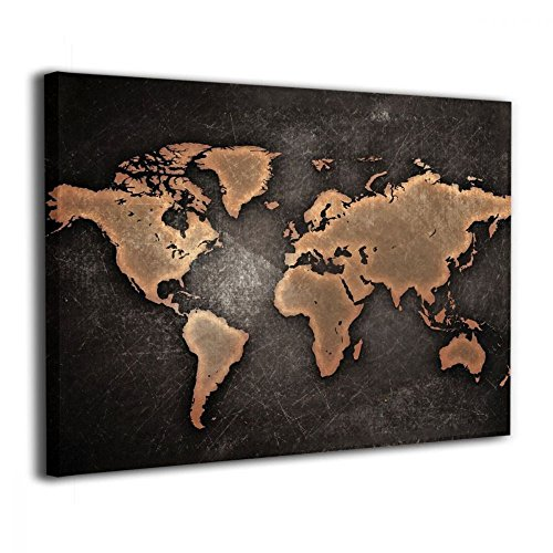 Art-logo Anqique Scratched World Map Brown Picture Modern Wall Decor Globe Home Decoration Stretched Gallery Canvas Wrap Giclee Print & Ready to Hang 16