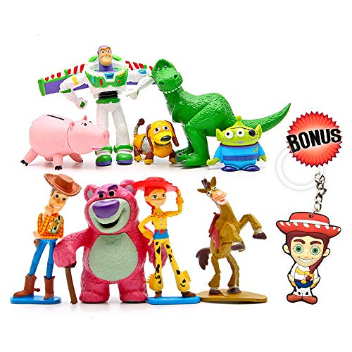 Toy Story Cake Toppers - Cartoon Action Figures - Pack of 9 Premium Toy Story Party Figurines - Birthday Party Supplies for Kids & Grownups + Jessie Keychain - Toy Story Party Favors