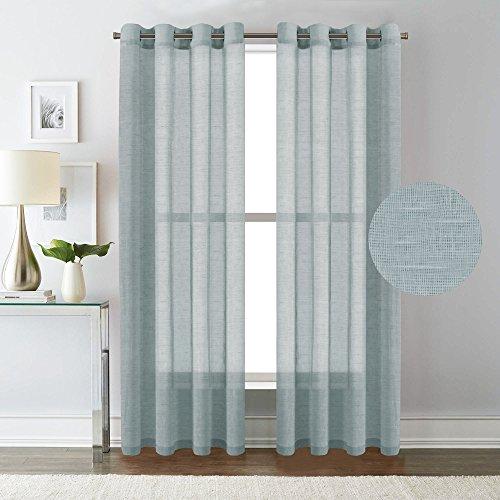 H.Versailtex Natural Linen Poly Curtains - Nickel Grommet Top Window Treatments Semi-Sheers - Teal - 52