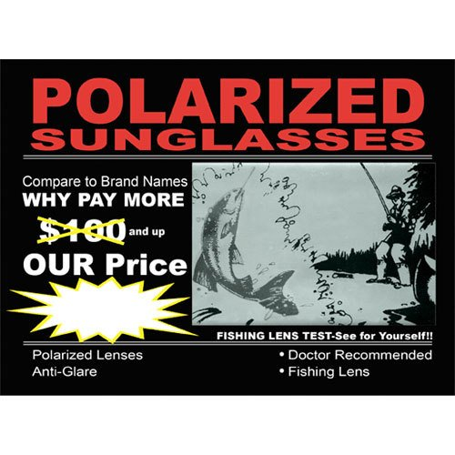 New Polarized Sunglasses Sign for Sunglass 8.5 in wide x 6 in - 1/2 Sunglasses 8