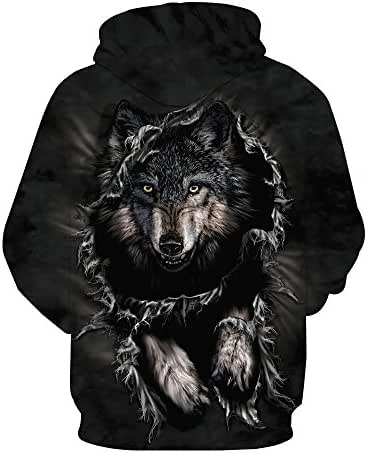 Unisex Elegant Work Casual Plus Size 3D Printed Wolf Pullover Long Sleeve Hooded Sweatshirt Tops Blouse Tunic